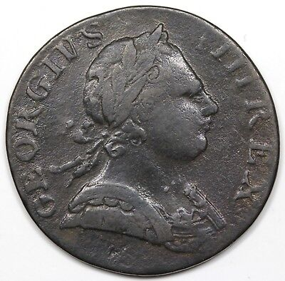 1773 Contemporary Non-Regal Great Britain Halfpenny, George III, VF detail