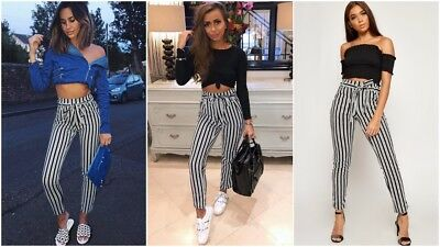Womens High Waist Paper Bag Striped Ladies Skinny Slim Cigarette Trousers Pants