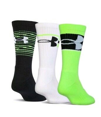 3 Pair Under Armour Kids Training Crew Socks Shoe Size 4Y-8Y, L, $19, L19