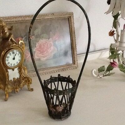 Small Antique Basket With Barbola Roses So Cute