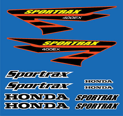400ex Decals Stickers 10pc kit TRX Sportrax Gen 3 Black / Yellow / Red graphics