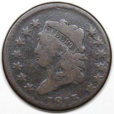 1813 Classic Head Large Cent, G-VG detail