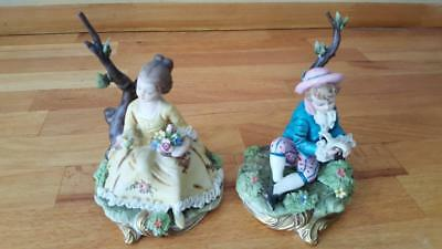 A Pair Of Capodimonte Figurines Boy/girl Sitting Signed D.belloire