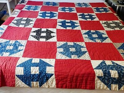 "Antique ""Hole in the Barn Door"" Quilt signed 1911 - Hand Pieced and Hand Quilted"