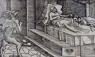1532 Master of Petrach Hans Weiditz 2 woodcuts - The Deathbed - The Nightmare