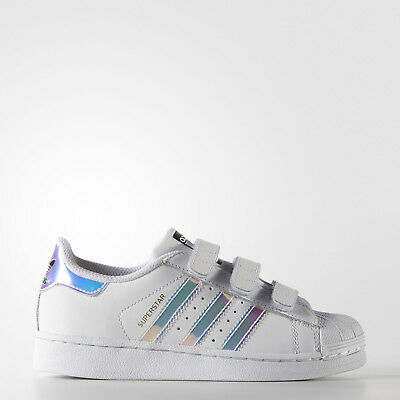 sale retailer e7cf3 e0634 adidas Superstar Childrens Trainers Girls Shoes White Silver CF Size 11.5  Kids