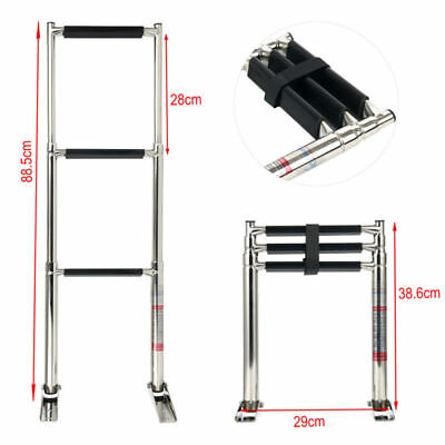 3 Step Telescoping Boat Ladder Stainless Steel  Swim Step Strong Fast AU Ship