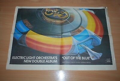 Elo - Very Rare 1977 'out Of The Blue' Advertising Double Page. Ready To Frame
