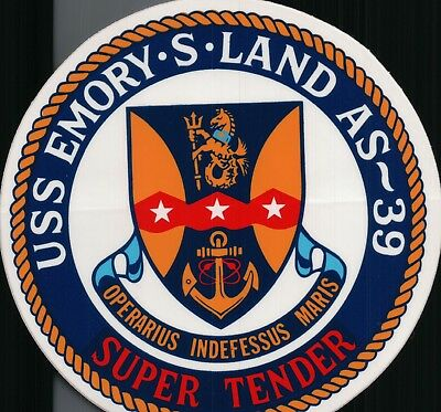 """USS Emory S. Land AS 39 sticker with backing 4"""" in diameter"""