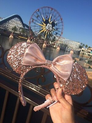 Rose Gold Minnie Mouse Bow Sequin Ears Headband Disneyland Disney Parks DLR