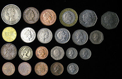 Lot of 23 Great Britain coins 1954 to recent 1, 2, 5, 10, 20 Pence, 1, 2 pound,