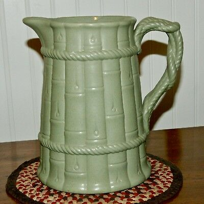 "1893 English Pearl Pottery 9"" Bamboo Jug Ridgways Jasper Ware Olive Green A+"