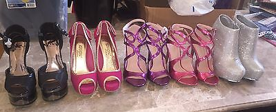5 Pairs Of Women Size 6 High Heel Shoes Open-toe Pump Platform Strappy