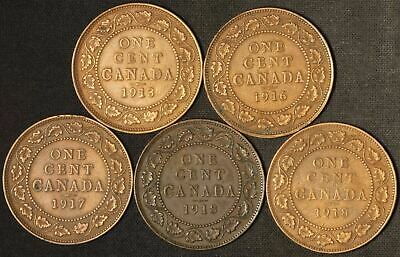 1913, 1916, 1917 and 1918(2) Canada Large Cents - Free Shipping USA