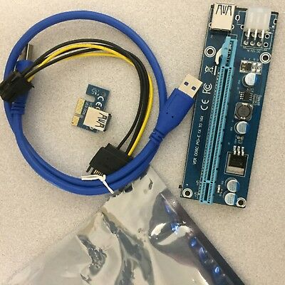 6 x PCIE Riser with 6 Pin Power for Mining Rig Graphics Card Adapter Ver 006c