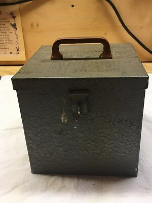 Small Metal Military Spare Parts Box with Stenciling