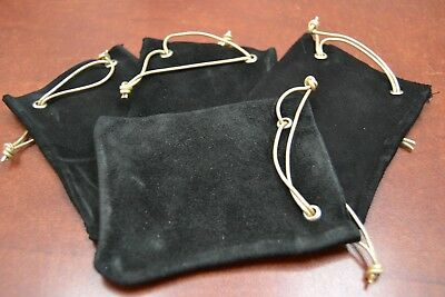 "4 PCS BLACK HANDMADE DRAWSTRING LEATHER JEWELRY GIFT POUCHES BAGS 3"" x 4"""