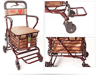 Jujube Red 4 Wheels Convenient Foldable Shopping Luggage Trolleys With Seat *#
