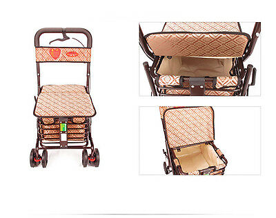 Dark Brown 6 Wheels Convenient Foldable Shopping Luggage Trolleys With Seat *