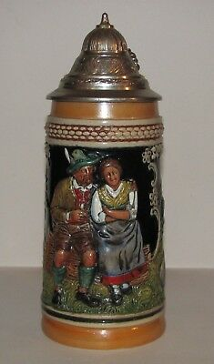Vintage Beer Stein German Collectible West Germany Lidded Auf der Alm Pewter