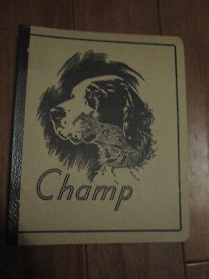 Vintage 1940s? School 3 Ring Binder ~ English Setter Dog CHAMP