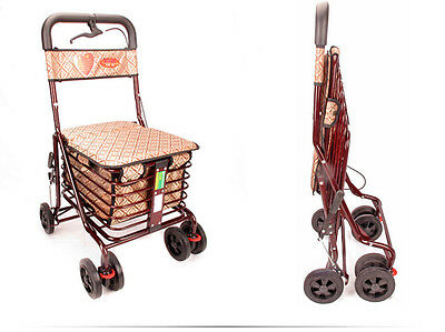 Jujube Red 6 Wheels Convenient Foldable Shopping Luggage Trolleys With Seat *