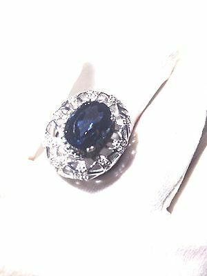 Antique Genuine London BlueTopaz White Sapphire Vintage 925 Sterling Silver Ring