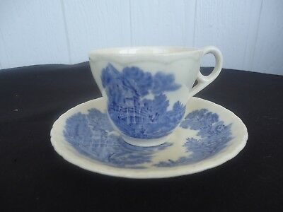 vintage grindley blue & white china meadow brook tea cup & saucer