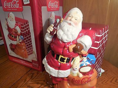 """Coca-Cola 11"""" Cookie Jar by Gibson  """"Santa At Fire Place"""""""