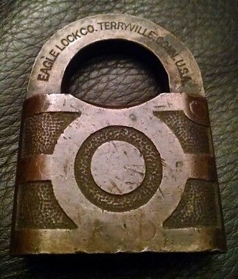 Extremely RARE Vintage Antique EAGLE LOCK CO. BRASS Padlock Early 1900's- No Key