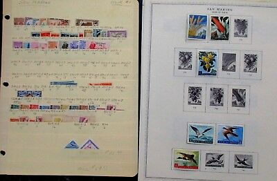 San Marino Postage Stamp Lot of 26 Album & Stock Pages, Un researched