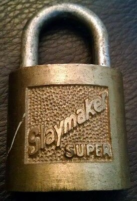 SLAYMAKER SUPER Padlock 4 Brass Vintage Antique Old Rectangle Lock (no key)