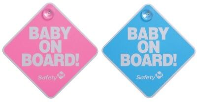 Baby on Board Sign Pink or Blue Suction Cup Car Window Safety 1st