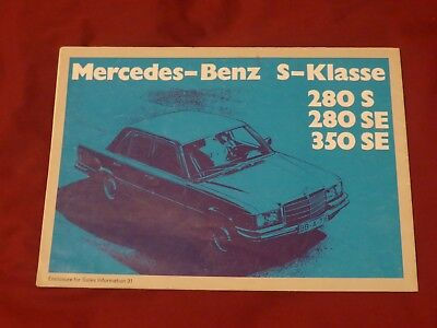 Mercedes Benz W116 Wall Poster S Class 280S 280Se 350Se
