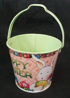 Adorable Mary Engelbreit Happy Easter Tin Pail Rabbit with Easter eggs