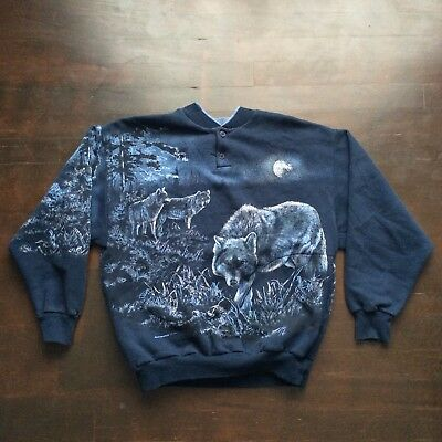 Vintage Wolves 90 Henley Sweatshirt Mens Small Fits XS Womens S/M USA