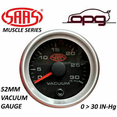"SAAS VACUUM 52MM 2""  0 > 30 IN Hg ANALOG GAUGE BLACK FACE SILVER RIM 4 COLOUR"
