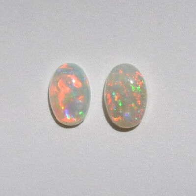 NATURAL SOLID AUSTRALIAN 0.69CT 6x4 WHITE CRYSTAL OPAL CABOCHON HIGH QUALITY 2P