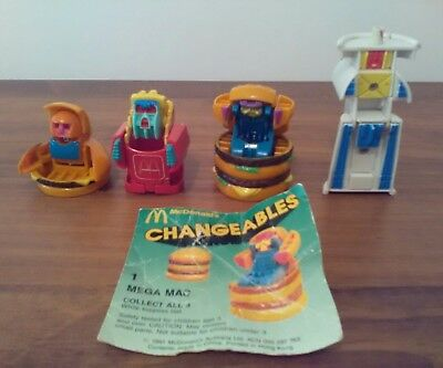 MCDONALDS  CHANGEABLES Transformers FULL SET with one instruction card 1991