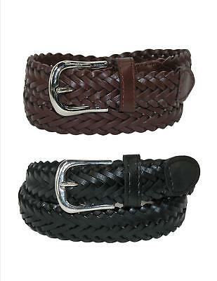 New CTM Boys' Leather Adjustable Braided Dress Belt (Pack of 2 Colors)
