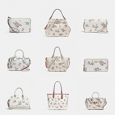 Coach Women Cross Stitch Floral Print Handbag And Wallets (Chalk)