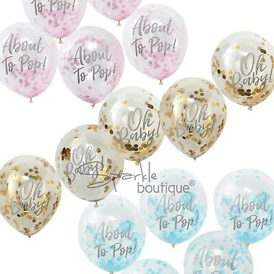 BABY SHOWER CONFETTI BALLOONS x5 -Pink/Blue/Gold Party Decorations-RANGE IN SHOP