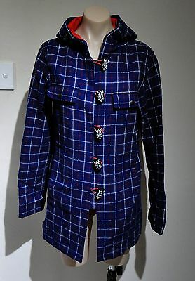 Vintage/vtg Rare Thor Wore Mooks Viking Plaid Check Tartan Wool Coat! Retro