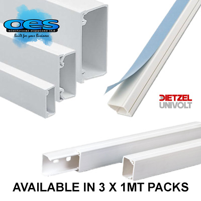 Self Adhesive Mini Trunking Multi Size 1M 2M 3M White Electrical PVC Cable Tidy