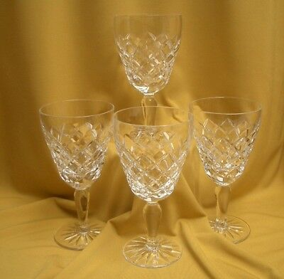 Stunning Vintage Diamond Cut Crystal Wine Glasses x 4, Great Condition