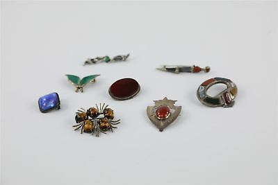 Collection of EIGHT VINTAGE .925 STERLING SILVER STONE SET BROOCHES 55g