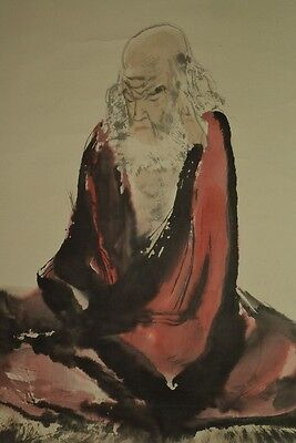 Chinese Painting Hanging Scroll Hermit China Asian art ink Paint Antique a370