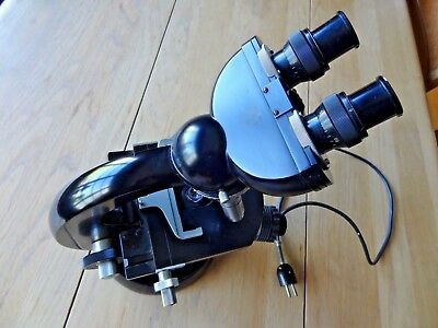 Vintage CARL ZEISS LAB BINOCULAR MICROSCOPE with 4 lenses 4041230 base 2063660