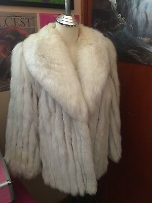 SAGA FOX Vintage Snowy Silver Grey Blue Fox Fur Mid Length Swing Coat M L 12 14