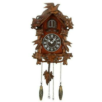 Traditional Quartz Carved Wooden Wall Cuckoo Clock w Roman Numerals 40x28cm
